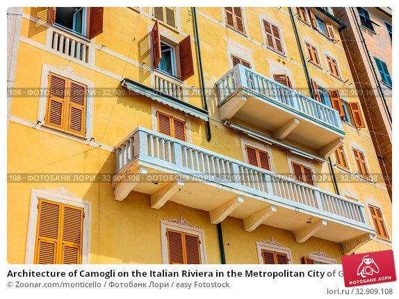 Architecture of Camogli on the Italian Riviera in the Metropolitan City of Genoa, Liguria, Italy. Стоковое фото, фотограф Zoonar.com/monticello / easy Fotostock / Фотобанк Лори