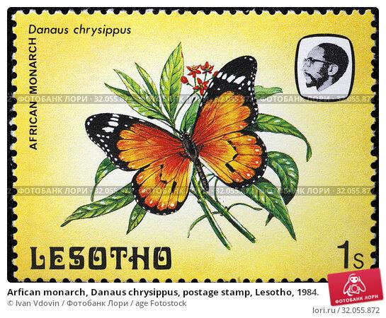 Arfican monarch, Danaus chrysippus, postage stamp, Lesotho, 1984. (2014 год). Редакционное фото, фотограф Ivan Vdovin / age Fotostock / Фотобанк Лори