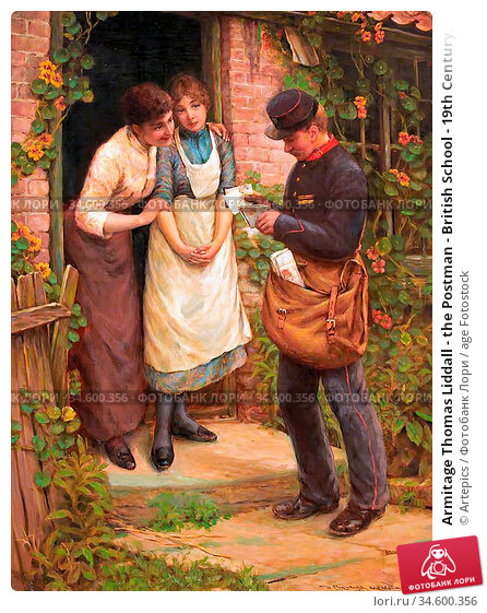 Armitage Thomas Liddall - the Postman - British School - 19th Century. Стоковое фото, фотограф Artepics / age Fotostock / Фотобанк Лори