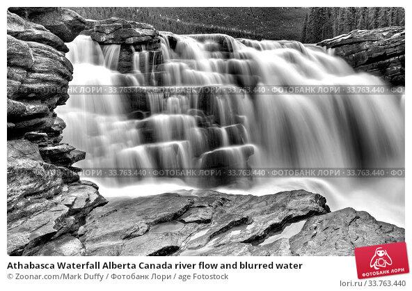 Купить «Athabasca Waterfall Alberta Canada river flow and blurred water», фото № 33763440, снято 8 июля 2020 г. (c) age Fotostock / Фотобанк Лори