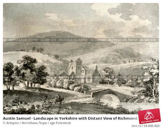 Austin Samuel - Landscape in Yorkshire with Distant View of Richmond... Стоковое фото, фотограф Artepics / age Fotostock / Фотобанк Лори