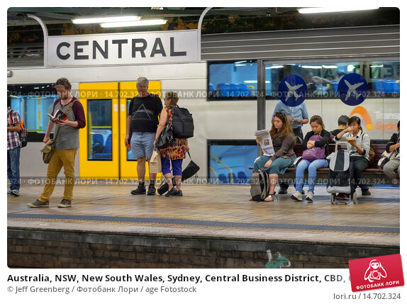 Купить «Australia, NSW, New South Wales, Sydney, Central Business District, CBD, Central Station, Sydney Trains, platform, riders, passengers, commuters, waiting.», фото № 14702324, снято 22 февраля 2019 г. (c) age Fotostock / Фотобанк Лори