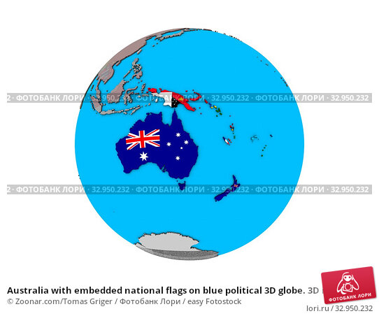 Australia with embedded national flags on blue political 3D globe. 3D illustration isolated on white background. Стоковое фото, фотограф Zoonar.com/Tomas Griger / easy Fotostock / Фотобанк Лори