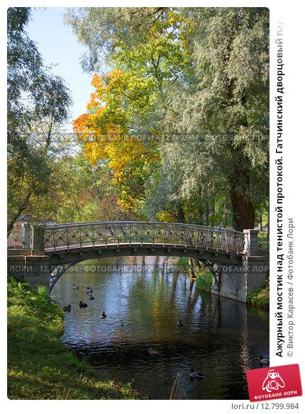 Ажурный мостик над тенистой протокой. Гатчинский дворцовый парк (2015 год). Редакционное фото, фотограф Виктор Карасев / Фотобанк Лори