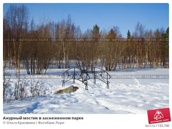 Купить «Ажурный мостик в заснеженном парке», фото № 133740, снято 21 марта 2007 г. (c) Ольга Красавина / Фотобанк Лори