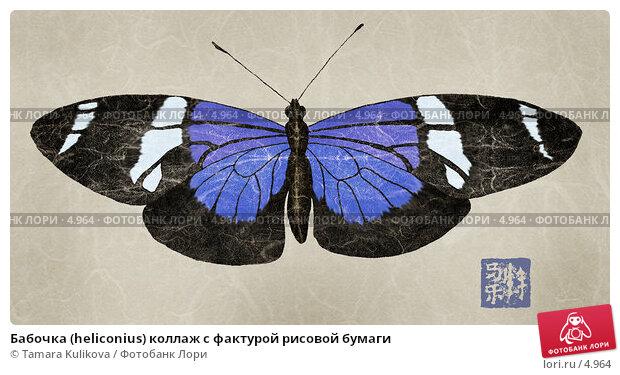 Бабочка (heliconius) коллаж с фактурой рисовой бумаги, иллюстрация № 4964 (c) Tamara Kulikova / Фотобанк Лори
