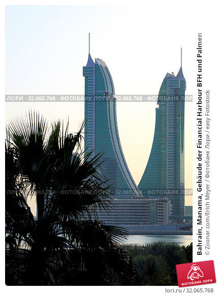 Bahrain, Manama, Gebäude der Financial Harbour BFH und Palmen. Стоковое фото, фотограф Zoonar.com/Erich Meyer / easy Fotostock / Фотобанк Лори