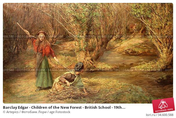 Barclay Edgar - Children of the New Forest - British School - 19th... Стоковое фото, фотограф Artepics / age Fotostock / Фотобанк Лори