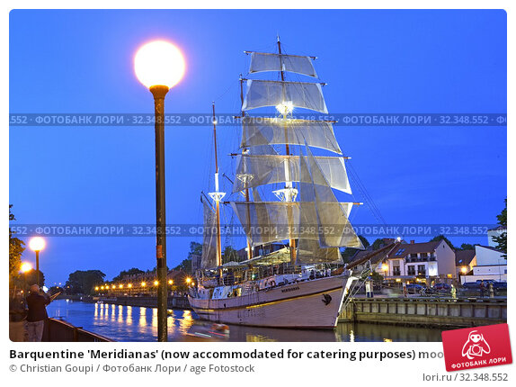 Купить «Barquentine 'Meridianas' (now accommodated for catering purposes) moored by the embankment of the Dane river, Klaipeda, port city on the Baltic Sea, Lithuania, Europe.», фото № 32348552, снято 23 июня 2019 г. (c) age Fotostock / Фотобанк Лори