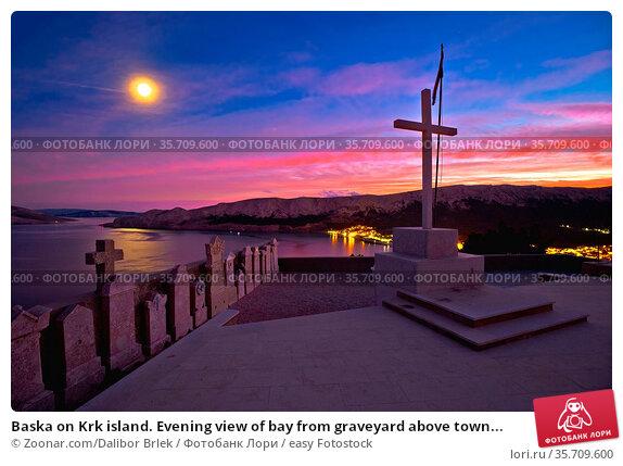 Baska on Krk island. Evening view of bay from graveyard above town... Стоковое фото, фотограф Zoonar.com/Dalibor Brlek / easy Fotostock / Фотобанк Лори