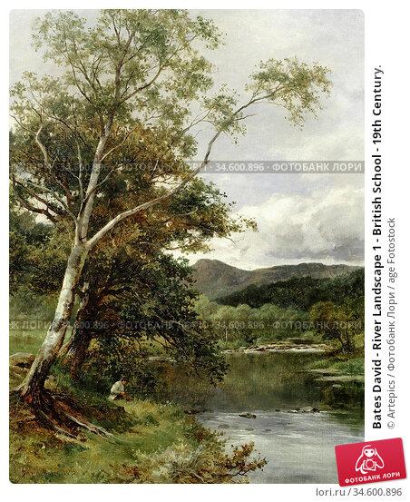 Bates David - River Landscape 1 - British School - 19th Century. Стоковое фото, фотограф Artepics / age Fotostock / Фотобанк Лори