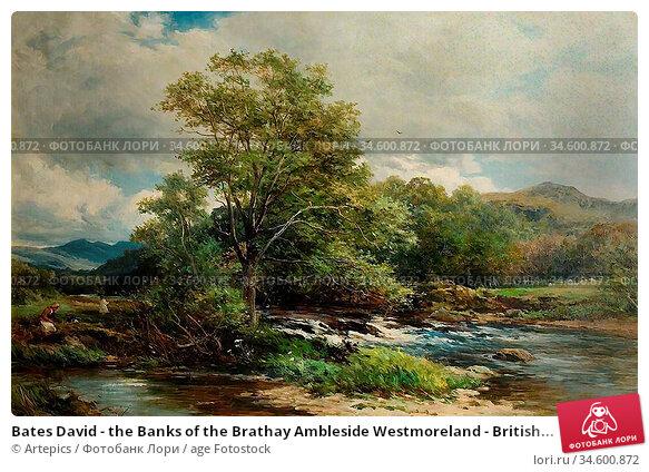 Bates David - the Banks of the Brathay Ambleside Westmoreland - British... Стоковое фото, фотограф Artepics / age Fotostock / Фотобанк Лори