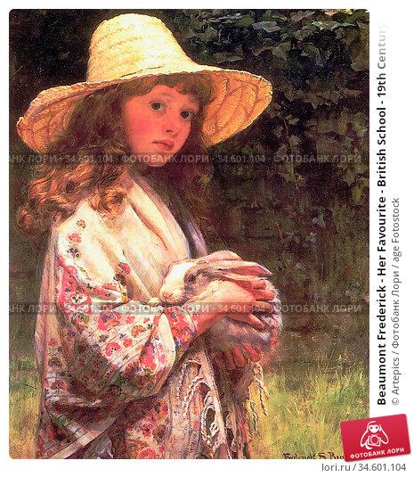 Beaumont Frederick - Her Favourite - British School - 19th Century. Стоковое фото, фотограф Artepics / age Fotostock / Фотобанк Лори