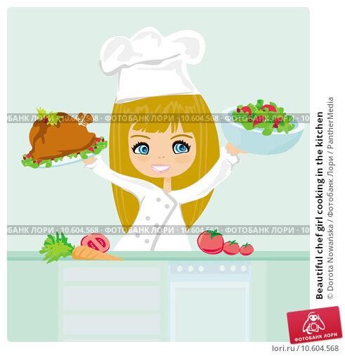 Beautiful chef girl cooking in the kitchen . Стоковая иллюстрация, иллюстратор Dorota Nowańska / PantherMedia / Фотобанк Лори