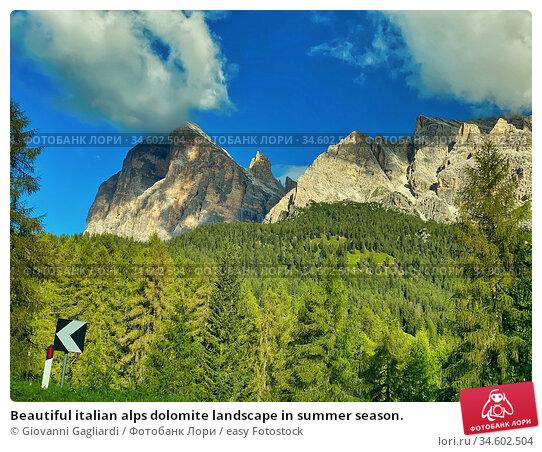 Beautiful italian alps dolomite landscape in summer season. Стоковое фото, фотограф Giovanni Gagliardi / easy Fotostock / Фотобанк Лори
