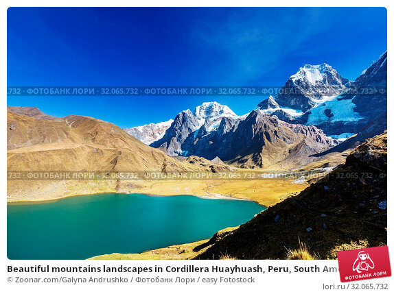Beautiful mountains landscapes in Cordillera Huayhuash, Peru, South America. Стоковое фото, фотограф Zoonar.com/Galyna Andrushko / easy Fotostock / Фотобанк Лори