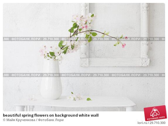 Купить «beautiful spring flowers on background white wall», фото № 29710300, снято 12 мая 2018 г. (c) Майя Крученкова / Фотобанк Лори
