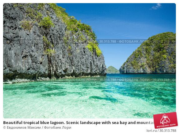 Купить «Beautiful tropical blue lagoon. Scenic landscape with sea bay and mountain islands, El Nido, Palawan, Philippines», фото № 30313788, снято 21 февраля 2019 г. (c) Евдокимов Максим / Фотобанк Лори