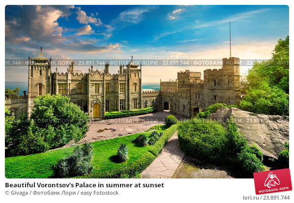 Купить «Beautiful Vorontsov's Palace in summer at sunset», фото № 23891744, снято 2 июля 2013 г. (c) easy Fotostock / Фотобанк Лори
