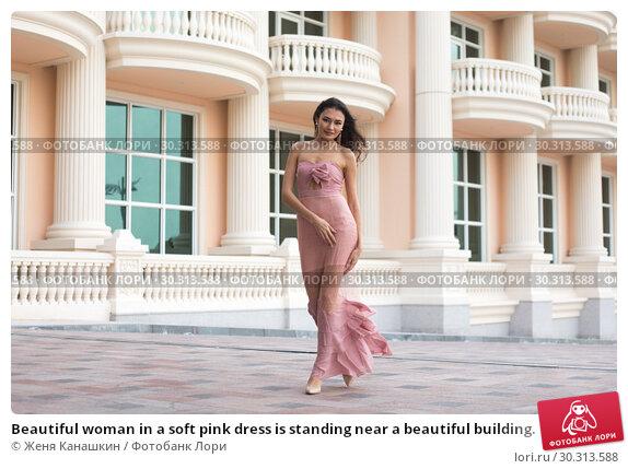 Купить «Beautiful woman in a soft pink dress is standing near a beautiful building.», фото № 30313588, снято 19 января 2019 г. (c) Женя Канашкин / Фотобанк Лори