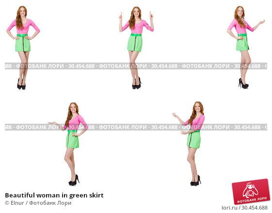 Beautiful woman in green skirt. Стоковое фото, фотограф Elnur / Фотобанк Лори
