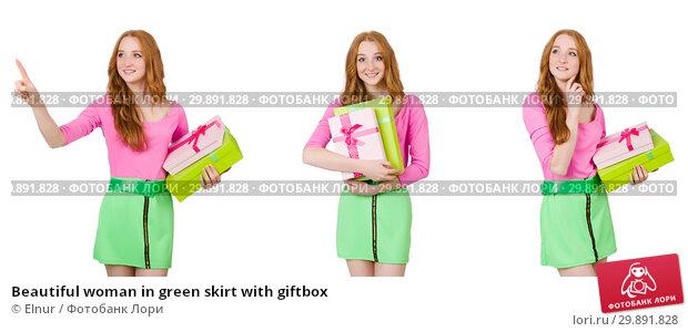 Купить «Beautiful woman in green skirt with giftbox», фото № 29891828, снято 21 февраля 2019 г. (c) Elnur / Фотобанк Лори