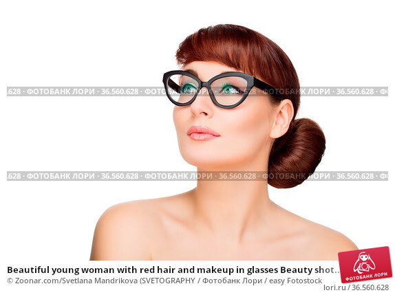Beautiful young woman with red hair and makeup in glasses Beauty shot... Стоковое фото, фотограф Zoonar.com/Svetlana Mandrikova (SVETOGRAPHY / easy Fotostock / Фотобанк Лори