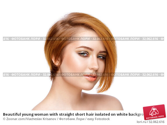 Beautiful young woman with straight short hair isolated on white background. Стоковое фото, фотограф Zoonar.com/Viacheslav Krisanov / easy Fotostock / Фотобанк Лори