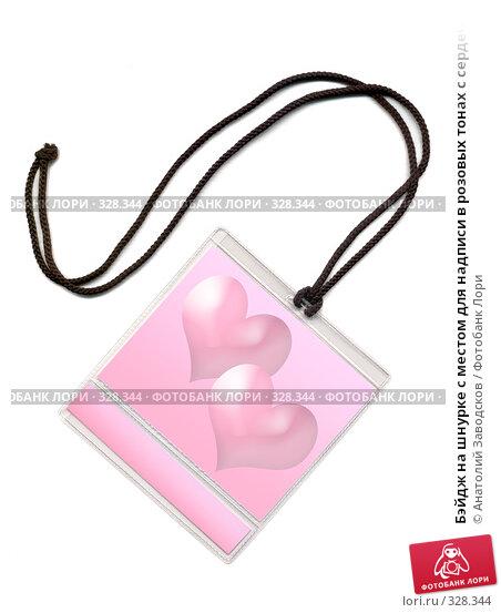 Купить «Бэйдж на шнурке с местом для надписи в розовых тонах с сердечками. На белом фоне», фото № 328344, снято 5 января 2007 г. (c) Анатолий Заводсков / Фотобанк Лори