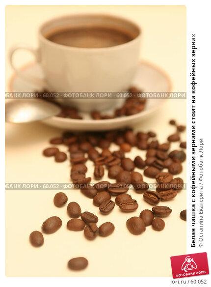 Белая чашка с кофейными зернами стоит на кофейных зернах, фото № 60052, снято 3 ноября 2006 г. (c) Останина Екатерина / Фотобанк Лори