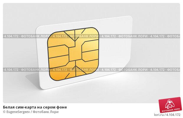 Купить «Белая сим-карта на сером фоне», иллюстрация № 4104172 (c) EugeneSergeev / Фотобанк Лори