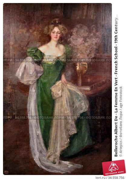 Belleroche Albert De - La Femme En Vert - French School - 19th Century... Редакционное фото, фотограф Artepics / age Fotostock / Фотобанк Лори
