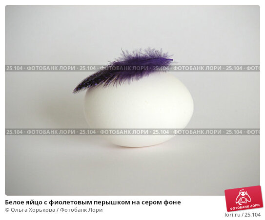 Белое яйцо с фиолетовым перышком на сером фоне, фото № 25104, снято 20 марта 2007 г. (c) Ольга Хорькова / Фотобанк Лори