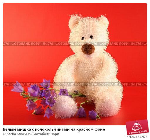 Купить «Белый мишка с колокольчиками на красном фоне», фото № 54976, снято 22 июня 2007 г. (c) Елена Блохина / Фотобанк Лори