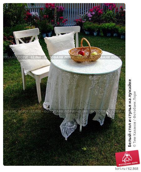 Белый стол и стулья на лужайке, фото № 62868, снято 17 июля 2007 г. (c) Тим Казаков / Фотобанк Лори