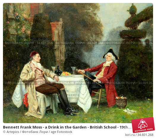 Bennett Frank Moss - a Drink in the Garden - British School - 19th... Стоковое фото, фотограф Artepics / age Fotostock / Фотобанк Лори