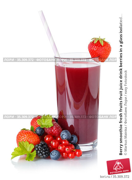 Berry smoothie fresh fruits fruit juice drink berries in a glass isolated... Стоковое фото, фотограф Markus Mainka / easy Fotostock / Фотобанк Лори