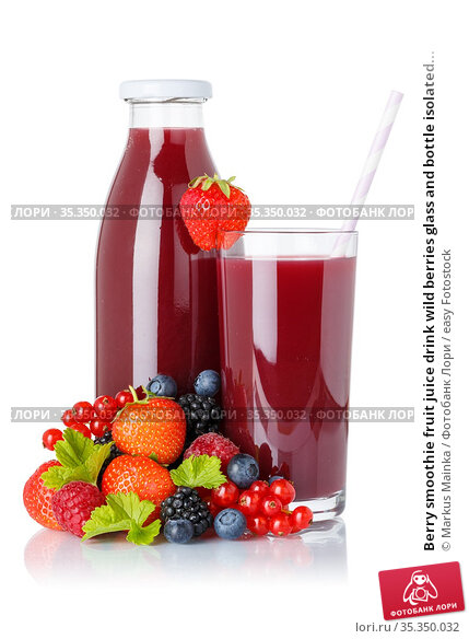Berry smoothie fruit juice drink wild berries glass and bottle isolated... Стоковое фото, фотограф Markus Mainka / easy Fotostock / Фотобанк Лори