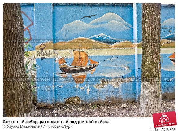 Купить «Бетонный забор, расписанный под речной пейзаж», фото № 315808, снято 7 июня 2008 г. (c) Эдуард Межерицкий / Фотобанк Лори