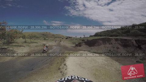 Купить «Bike nature Enduro journey with dirt bike high in the Caucasian mountains, hills, valleys», видеоролик № 28306296, снято 15 апреля 2018 г. (c) Aleksejs Bergmanis / Фотобанк Лори