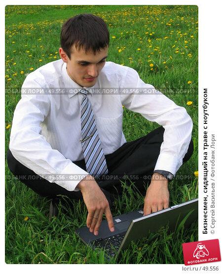 Купить «Бизнесмен, сидящий на траве с ноутбуком», фото № 49556, снято 28 мая 2007 г. (c) Сергей Васильев / Фотобанк Лори