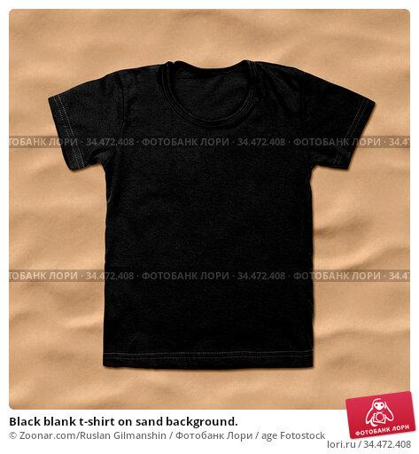 Black blank t-shirt on sand background. Стоковое фото, фотограф Zoonar.com/Ruslan Gilmanshin / age Fotostock / Фотобанк Лори