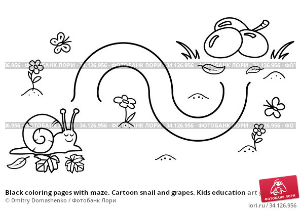 Купить «Black coloring pages with maze. Cartoon snail and grapes. Kids education art game. Template design with mollusk on white background. Outline vector», иллюстрация № 34126956 (c) Dmitry Domashenko / Фотобанк Лори