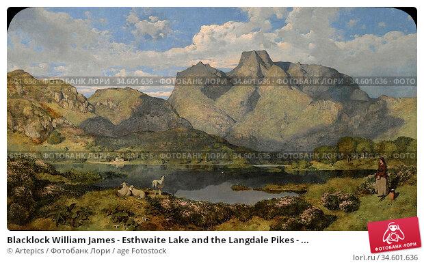 Blacklock William James - Esthwaite Lake and the Langdale Pikes - ... Стоковое фото, фотограф Artepics / age Fotostock / Фотобанк Лори
