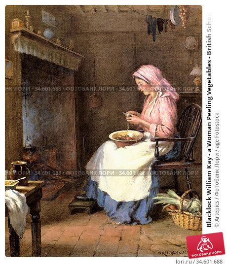 Blacklock William Kay - a Woman Peeling Vegetables - British School... Стоковое фото, фотограф Artepics / age Fotostock / Фотобанк Лори