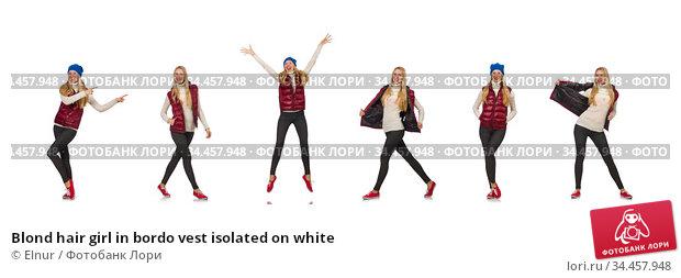 Blond hair girl in bordo vest isolated on white. Стоковое фото, фотограф Elnur / Фотобанк Лори