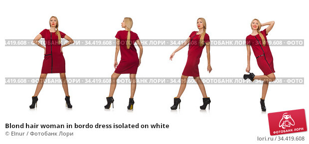 Blond hair woman in bordo dress isolated on white. Стоковое фото, фотограф Elnur / Фотобанк Лори