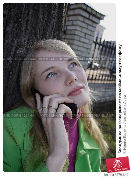 Купить «Блондинка разговаривает по мобильному телефону», фото № 279644, снято 28 апреля 2008 г. (c) Ирина Еськина / Фотобанк Лори