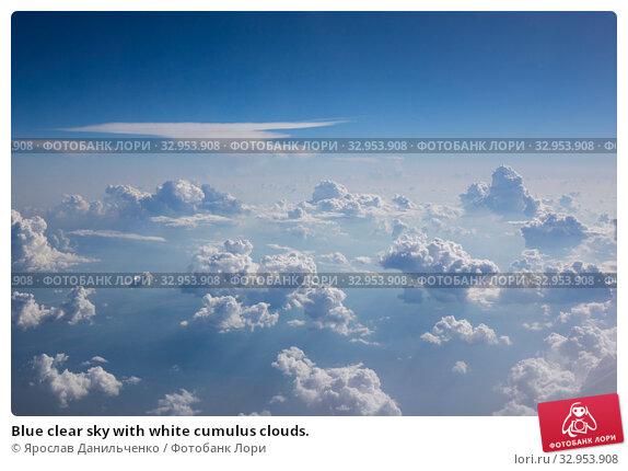 Blue clear sky with white cumulus clouds. Стоковое фото, фотограф Ярослав Данильченко / Фотобанк Лори