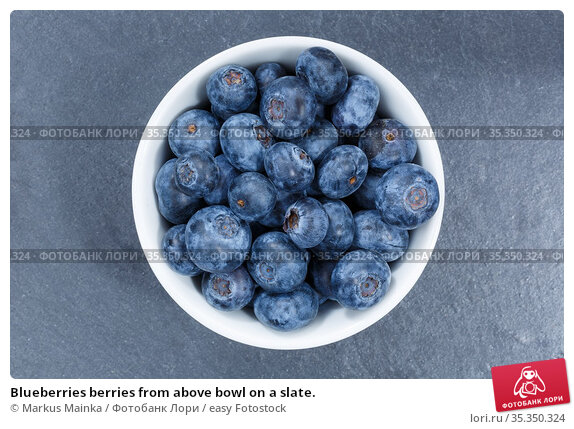 Blueberries berries from above bowl on a slate. Стоковое фото, фотограф Markus Mainka / easy Fotostock / Фотобанк Лори